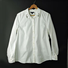 Tommy Hifliger woman XL white button down long sleeves shirt jeweled collar top
