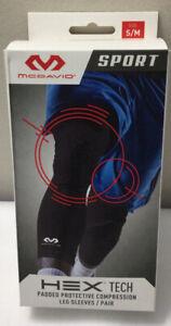 McDavid HEX TECH Padded KNEE Compression Leg Sleeve 1 Pair Sz Small / Medium