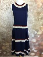 Just Fab Women's Navy blue Sleeveless Striped Fit and Flare Dress Size Large L