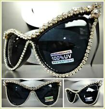 OVERSIZED VINTAGE RETRO CAT EYE Style SUN GLASSES Huge Crystals Stones Handmade