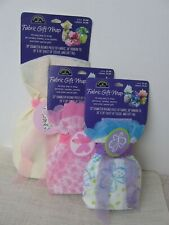Nos Hallmark Fabric Gift Wrap Tags Tissue Ribbon Ties Lot of 3 Pink Purple Blue