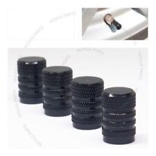 For Volkswagen Jetta Passat Golf Tire Valve Cap 4pcs Black w/lines Vehicle Rim