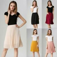 Women Retro Elastic Waist Midi Skirt Solid Pleated Chiffon Fashion Casual Dress