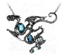 Alchemy Gothic Pewter Crystal Blue Aqua Dragon Pendant Necklace AL-P646