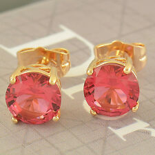 Elegant 9K Real Gold Filled 1.79 Ctw Ruby Round 8MM Stud Earrings,Z2050