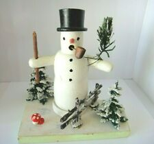 Vintage Erzgebirge Old  Snowman Smoker Diorama Older Trees Fence  Germany Wooden