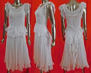 Vintage 1930s Swiss Dot White Tulle Net Ruffle Flounce Bias Cut Dress & Slip