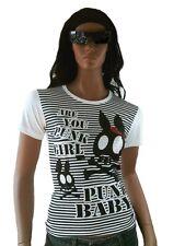 d'ROCKABILLY PUNK ROCK BABY Totenkopf Hasen Sweet Cute Skull Streifen T-Shirt XL
