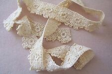Vtg Antique Irish Rose Lace Trim For French German Bisque Doll Dress 31 inches