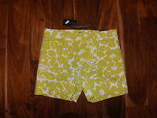 NWT Womens THE LIMITED Lime Green Floral Flat Front Tailored Shorts Size 14