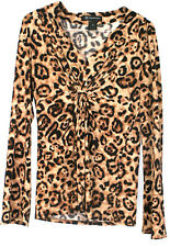 INC International Concept Women's Cheetah Print Long Sleeve Shirt Top Size Med