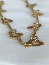 Heart Ankle Bracelet Chain Anklet Real 14k Yellow Gold 9'' inches