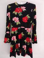 Topshop Petite Rose Floral Fluted Skater Dress - Black - UK8/EU36/US4