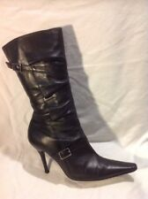 River Island Black Mid Calf Leather Boots Size 6
