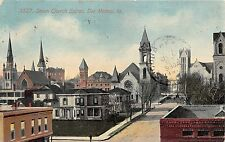 Des Moines Iowa~Seven Church Spires Sticking up in Street View~Houses~1912 PC