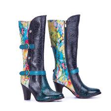 Premium Leather Ankle Heel Boots Hand Made Bohemian Ethnic Bootie Low Block Heel