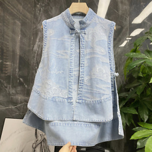 New Lady Denim Waistcoat Gilet Vest Capes Poncho Jacket Jeans Tops Retro Ethnic