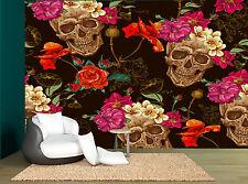 Sugar Skull Black Pink Red Floral Wall Mural Photo Wallpaper GIANT WALL DECOR
