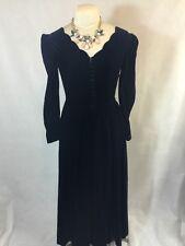 Vtg Laura Ashley Gothic Blue VELVET Dress 4 Scalloped Long Romantic Victorian