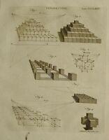 1797 Originale Stampa Prespective Varie Diagrammi