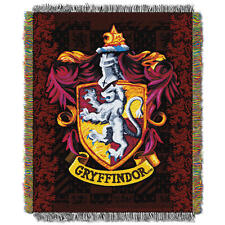 Harry Potter GRYFFINDOR WOVEN TAPESTRY THROW Crest Blanket Wall Hanging MADE USA
