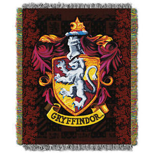 Harry Potter GRYFFINDOR CREST WOVEN TAPESTRY THROW Blanket Wall Hanging Made USA