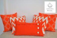 Orange Scatter Cushions, Geometric, Zig Zag, Bright, Orange Throw Pillow Set
