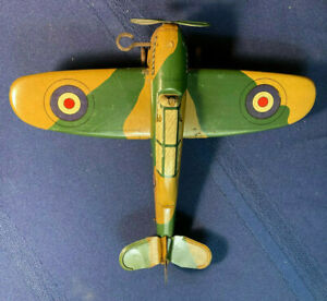 TIN TOY MONOPLANE PRE WAR 1930'S RAF ROYAL AIR FORCE  METTOY ?  MADE IN ENGLAND