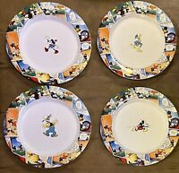 Set of 4 Disney China Comic Plates 9 Inch Donald Goofy Minnie Mickey EUC