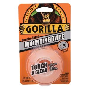 Gorilla Tape Indoor Outdoor Mounting Double Sided Clear 15lb Hold Weatherproof