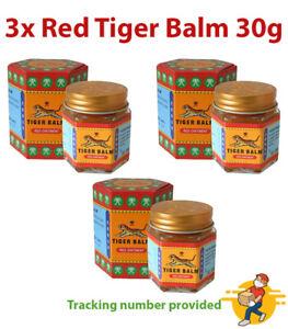 3x Red Tiger Balm Ointment Relief Pain Sprains Muscular Aches Thai Massage 30 g