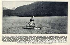 Tretboot-Erfinder Ing.P.Schulze auf dem St.Moritzsee Historische Aufnahme 1908
