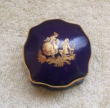 Vintage Limoges Cobalt Blue and Gold Porcelain Trinket Ring Box 1 3/4 in Square