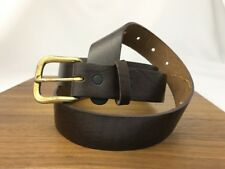Vtg Rugged Casual Dark Brown Leather Dress Belt Top Grain Oil Tanned Mens XL 40
