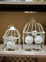 Vintage Style Distressed Ivory Two Bird Cages Metal Decor Rosettes FAST SHIP