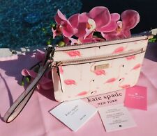 🌸 NWT kate spade Shore Street Festive Flamingos Tinie Leather Bag Wristlet New