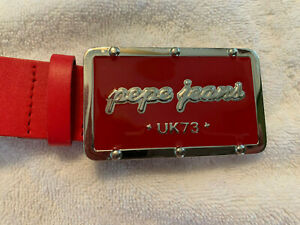 RARE VTG PEPE JEANS 73 London Red Leather Silver Red Buckle Belt Size XL C1021