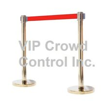 """Stanchion, 2Pcs Set, 40"""" Gold Polish S.S With 14"""" Flat Base And 78"""" Red Belt"""