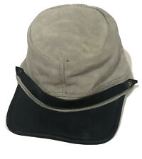 Civil War Style Costume Leather Suede Gray Army Military Hat Adjustable Strap