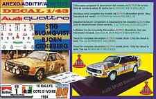 ANEXO DECAL 1/43 AUDI QUATTRO SPORT HB STIG BLOMQVIST COTE D´IVOIRE 1984 (04)