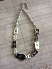 LOVELY ADJUSTABLE ENAMEL LOOK IN BEIGE AND BROWN NECKLACE SILVER CHAIN