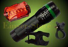 15W CREE  Fahrradlampe+Rücklicht Set mit FOCUS ZOOM Fahrradbeleuchtung