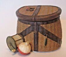 Creel Trinket Box Fish Fishing Bobbin Reel Basket Russ Ceramic 3.5 inch