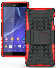 RED GRENADE GRIP RUGGED TPU SKIN HARD CASE COVER STAND FOR SONY XPERIA Z3 PHONE