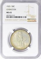 1925 Lexington Commemorative Silver Half Dollar - NGC MS 65 - Certified MS-65