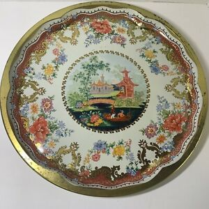 """Vintage Oriental Daher Decorated Ware Tin Serving Tray England Floral Design 16"""""""