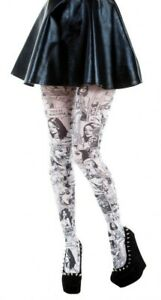 Comic Book Print Tights Available In 2 Colours (Made In Italy)
