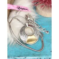 Brighton Wiltern Crystal~Gold Silver Black Round Disk Reversible Snake Necklace