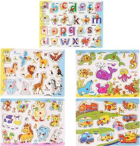 5 Pack Wooden Puzzle Animal Jigsaw Early Learning Educational Toys Peg Puzzles