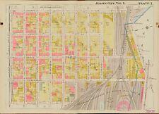 1908 JERSEY CITY HUDSON COUNTY NEW JERSEY 11TH ST -  FERRY ST HOPKINS ATLAS MAP